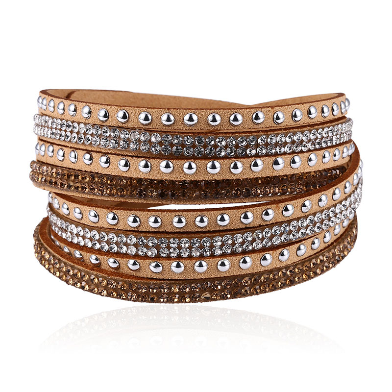 17 Colors Leather Bracelets For Women Fashion Crystal Rhinestone Wrap Multi layer Bracelet Bangles 2019 Charm Jewelry Wholesale in Charm Bracelets from Jewelry Accessories
