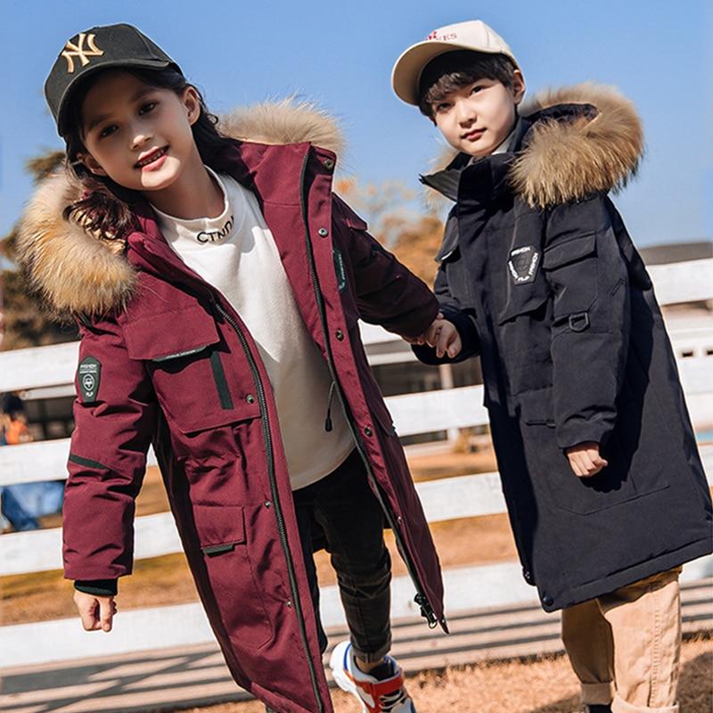 Зимний Детский пуховик для мальчиков, утепленный ветрозащитный зимний комбинезон для мальчиков, пальто детская парка пальто для девочек де...