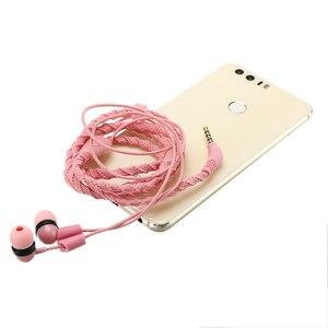 Image 4 - Moda 3.5mm cuffia con filo auricolare intrecciato cuffia con microfono auricolare sportivo verde militare portatile per smartphone