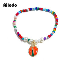 Ailodo Bohemian Colorful Beads Shell Bracelets For Women Trendy Summer Beach Seashell Fashion Jewelry Girls Gift LD299