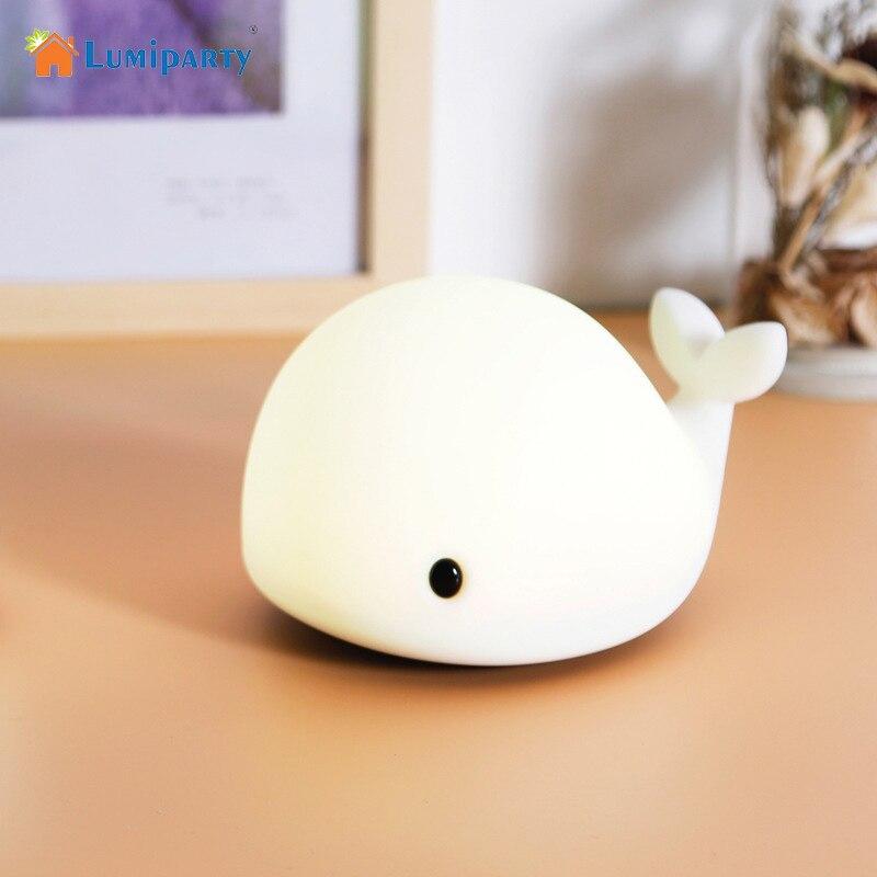 LumiParty tactile mignon dauphin USB Rechargeable enfants veilleuse bébé baleine lumière LED multicolore silicone chevet Pat lampe