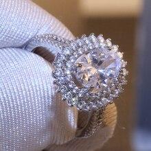 Anillo de lujo Modyle de gran piedra brillante de zirconio de Color plateado para mujer, anillo de compromiso de boda brillante, joyería de moda femenina para fiestas