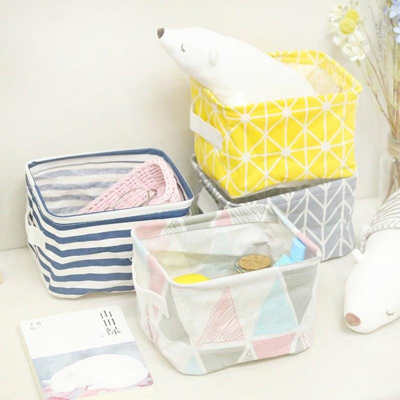 Foldable Desktop Storage Basket Sundries Storage Box Underwear Cosmetic Organizer Jewelry Scarf Socks Storage Basket Bags New