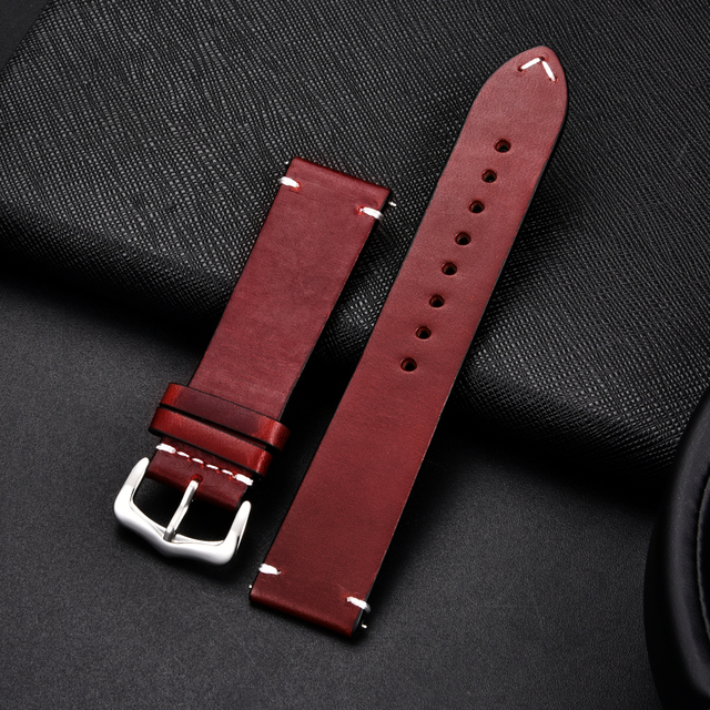 Retro Cowhide Leather Watchband (Multiple Colours) 3