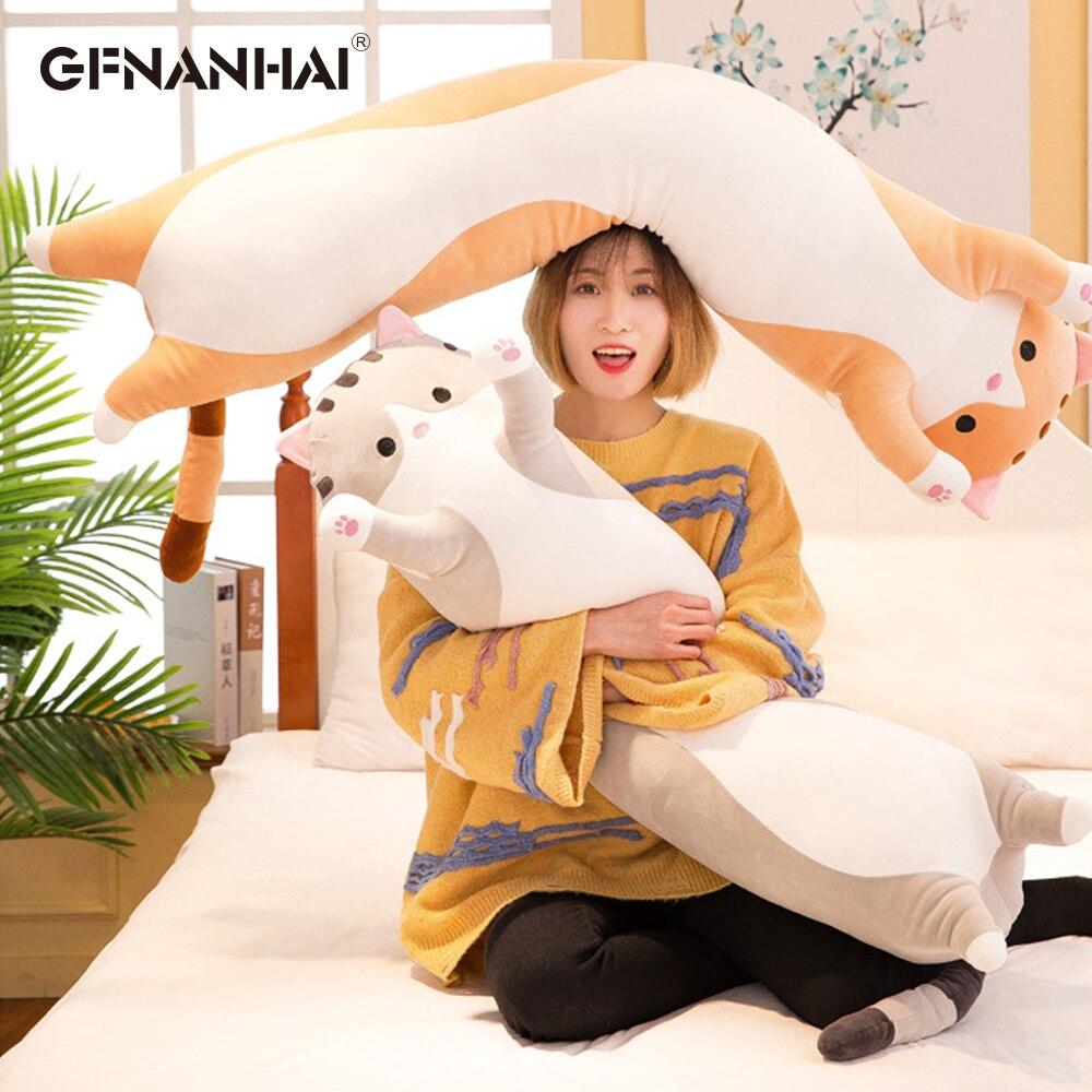 1pc 50-130CM Kawaii Long Animal Cat Plush Toys Lovely Soft Pillow For Children Girls Baby Sleeping Cushion Cartoon Stuffed Dolls