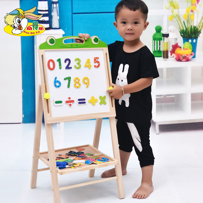 Wooden Height Adjustable Double-Sided Sketchpad Folding Painted Magnetic Drawing Board Children Learning Educational Force Toys