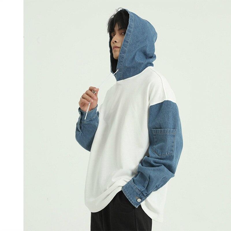 Men Denim Splice Hooded Sweatshirt Male Women Streetwear Hip Hop Loose Pullover Hoodie Sweatshirt