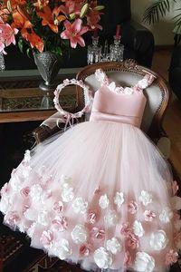 Розовые цветочные платья для девочек на тонких бретельках, винтажные Бальные платья с цветочной аппликацией для девочек, праздничные розов...