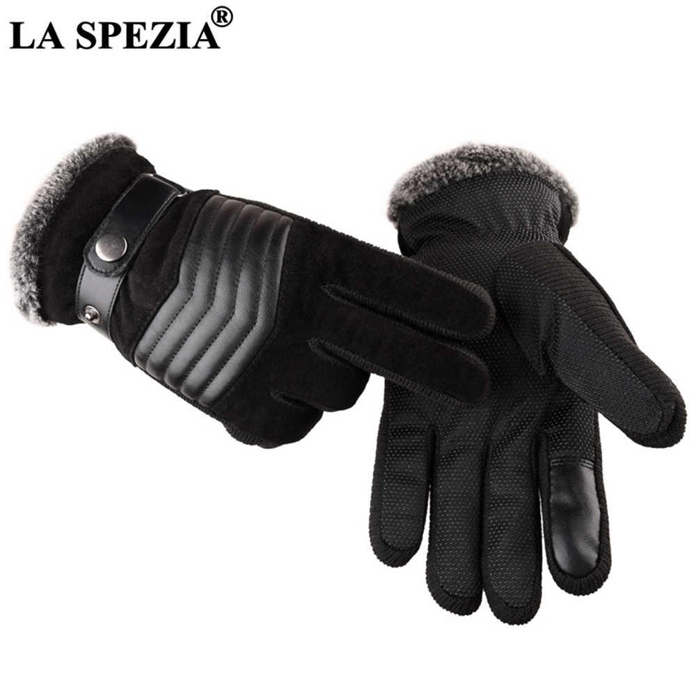 La spezia brown luvas de couro dos homens real pigskin rússia luvas de inverno quente grosso condução esqui luvas guantes luvas
