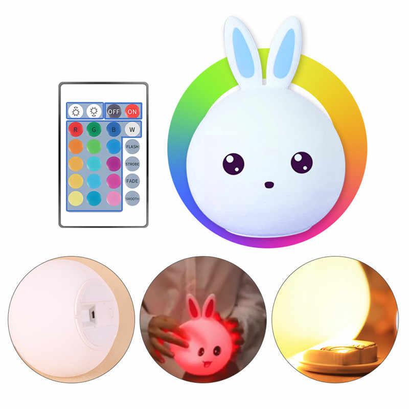 귀여운 토끼 usb 실리콘 밤 빛 led 원격 센서 램프 침실에 대 한 led 밤 램프 어린이위한 아기 키즈 침대 옆 램프