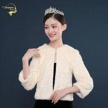 Shawl Wedding-Dresses-Accessories Bridal-Jacket Champagne Bride-Wrap Faux-Fur Winter