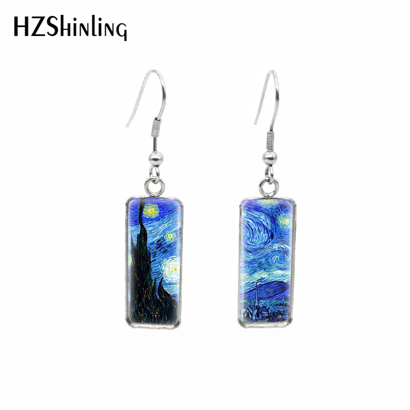 2019 New Van Gogh Paintings Fish Hook Earring The Starry Night Rectangular Earrings Glass Hand Craft Jewelry
