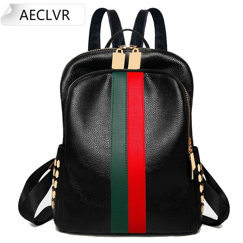 Fashion Women's Bags Luxury Famous Brand Designer Women PU Leather Backpack Female Casual Shoulders Bag Teenager School Bag Bts