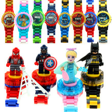 Kids Magic Intellectual blocks Series Compatible Kids Watch Avengers Batman Iron Man SpiderMan friend Toy for children watches(China)