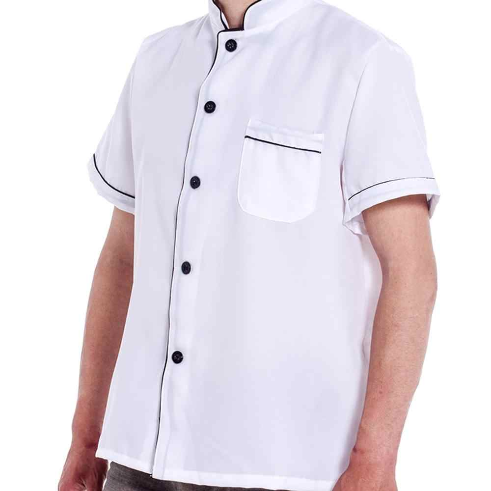 유니섹스 반소매 싱글 브레스트 버튼 다운 스트 라이프 요리사 재킷 워킹 코트 649c
