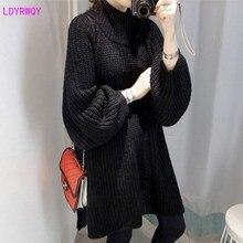 2019 autumn and winter wear new Korean women's hooded high collar lantern sleeves lazy loose casual long sweater plum perkins collar long lantern sleeves sweater