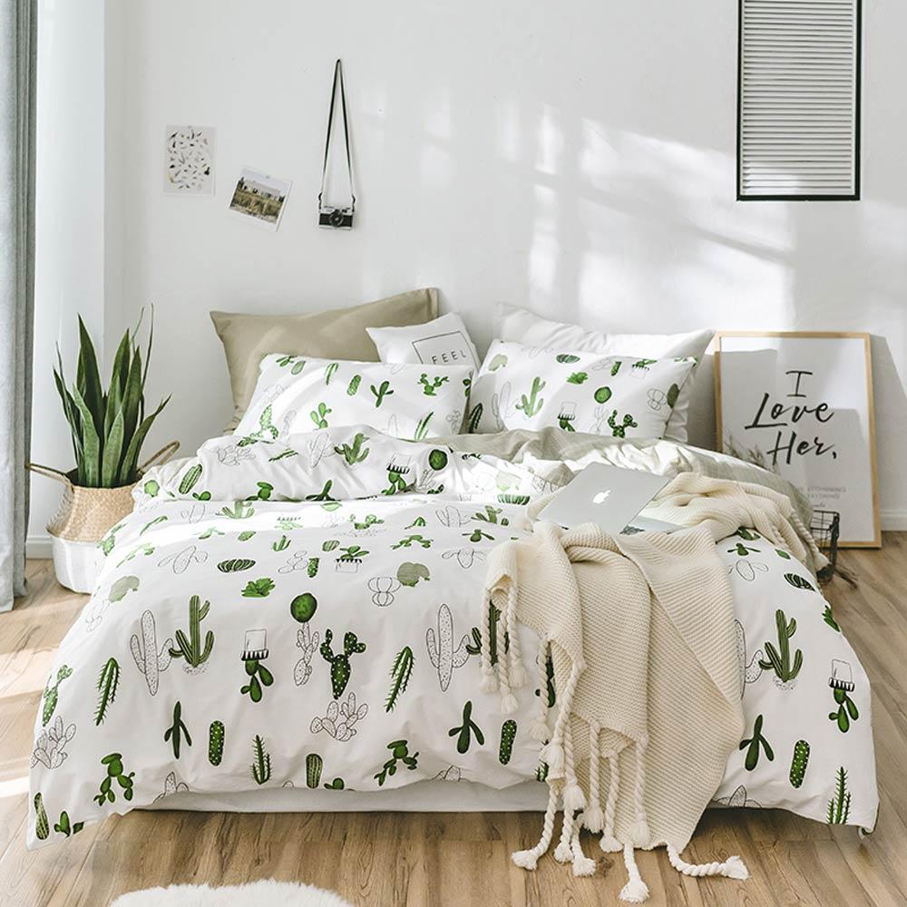 Svetanya サボテンパイナップル寝具セット 100% コットンリネンツインシングル、ダブル、クイーンキングサイズシート枕布団カバーセット  グループ上の ホーム&ガーデン からの 寝具セット の中 1