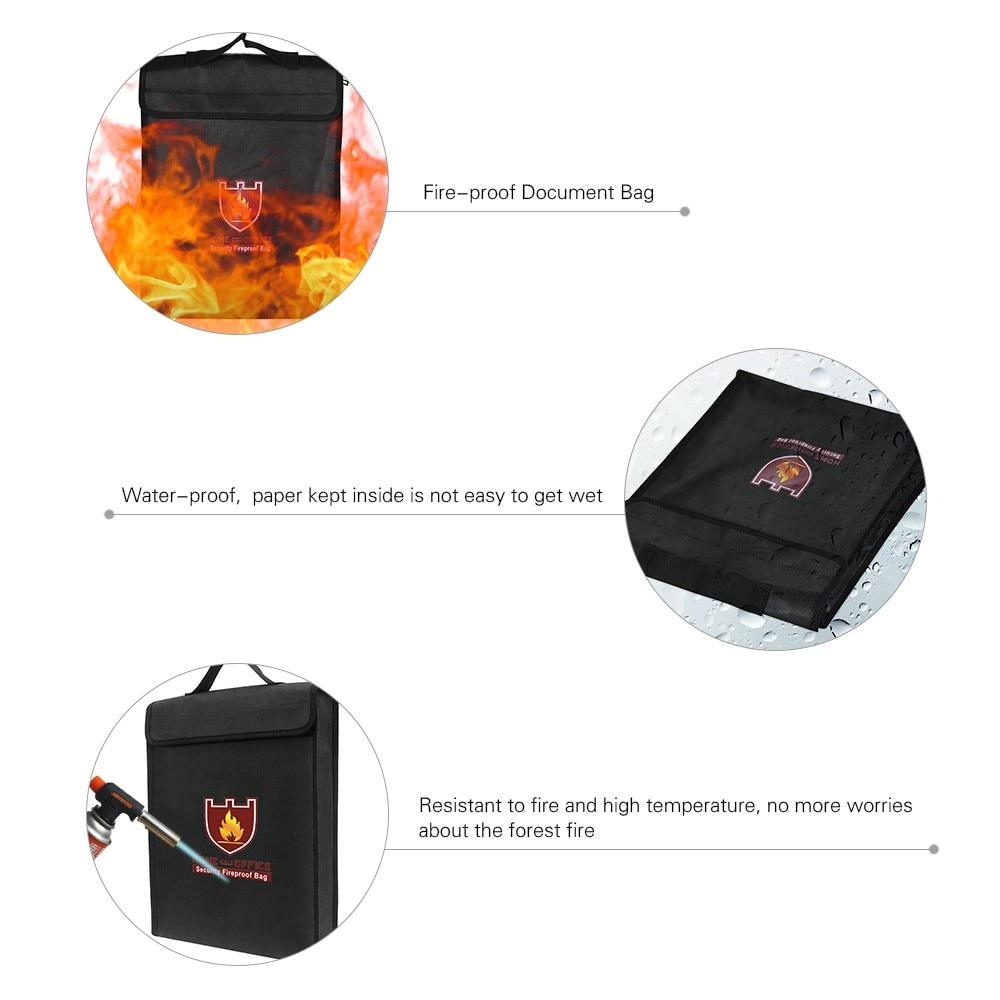 Fireproof Document Bag Waterproof Money Bag Fire Safe Cash Pouch Envelope Holder