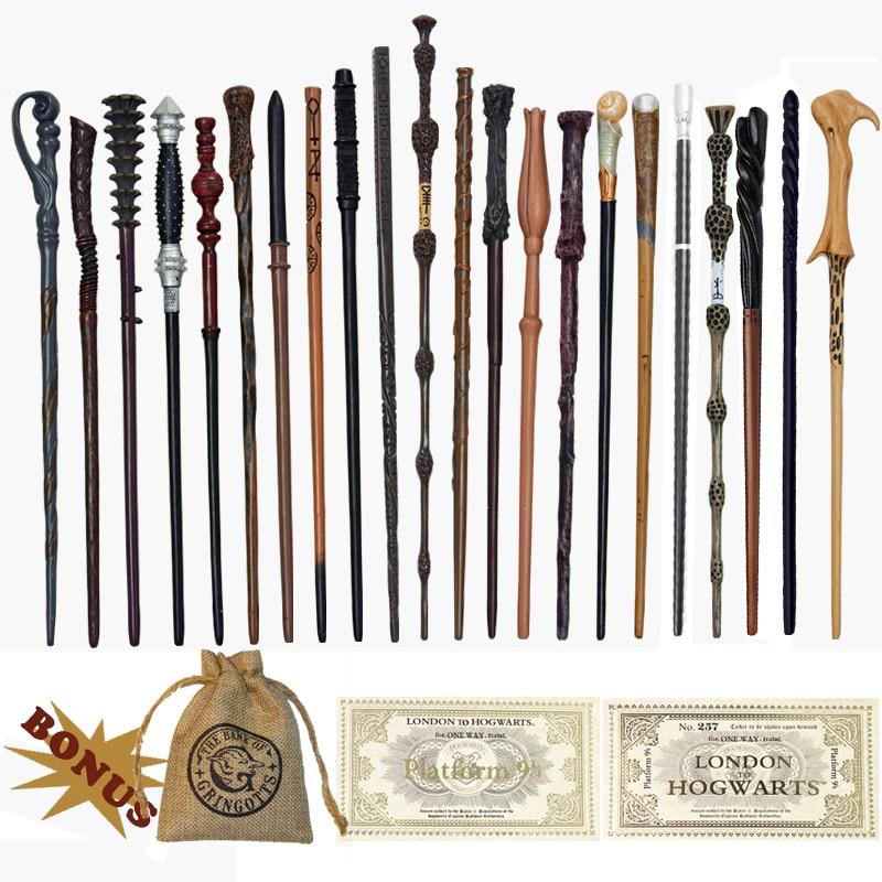 27 tipos de metal núcleo poter dumbledore lucius ron voldmort hermione varinha mágica harried bilhetes e saco como presente nenhuma caixa