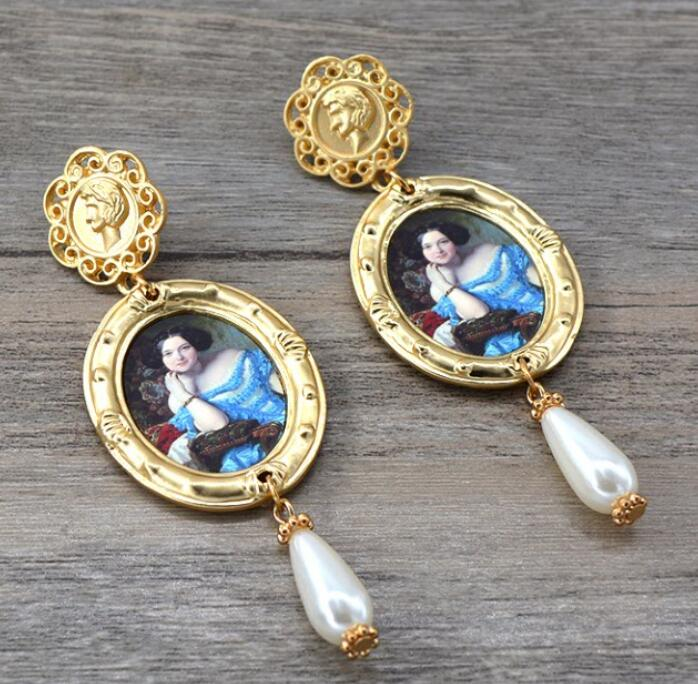 Леди королева Камея висячие серьги жемчужная подвеска винтажный вид фигура модные ювелирные изделия для женщин - Окраска металла: style 1