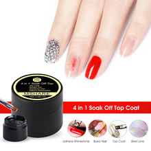 MSHARE Top No Wipe Vanish Polish 4 in 1 Shell Nail Art Top Coat Topcoat Rhinestone Reinforce Builder Gel 10ml(China)