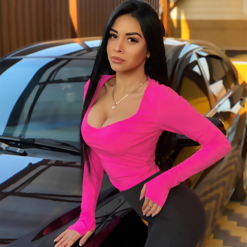 Bodycon Sexy Neon Orange Bodysuits Women Autumn 2019 Long Sleeve Solid Winter Basic Body Suit Female O Neck Black Pink