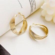 Женские серьги кольца с витым кольцом lats простые и модные