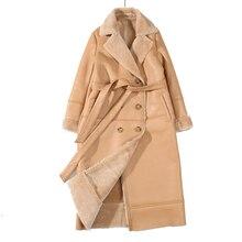 EI BAWN 2020 chaqueta de invierno de cuero genuino piel de oveja caqui abrigo largo chaqueta de piel de oveja cinturón cálido oveja chaqueta de pelo sobretodo