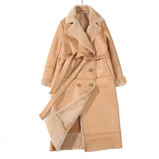 EI BAWN 2020 kış hakiki deri ceket koyun derisi haki uzun ceket Shearling ceket kemer sıcak kuzu koyun kürk dış giyim palto