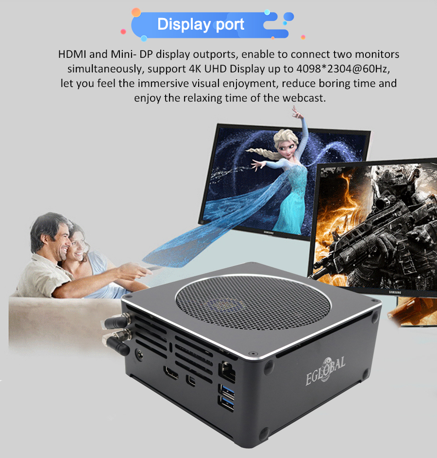 Eglobal 9th I9 9880H Gaming Mini Computer Windows 10 Pro Personal NUC M.2 SSD 64GB DDR4 RAM Portable PC AC WIFI 4K HDMI Mini DP