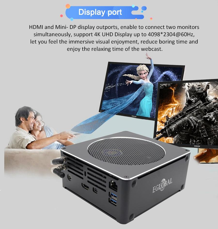 Eglobal 9th I9 9880H Gaming Mini Computer Windows 10 Pro Personal NUC M.2 SSD 64GB DDR4 RAM Portable PC AC WIFI 4K HDMI Mini DP