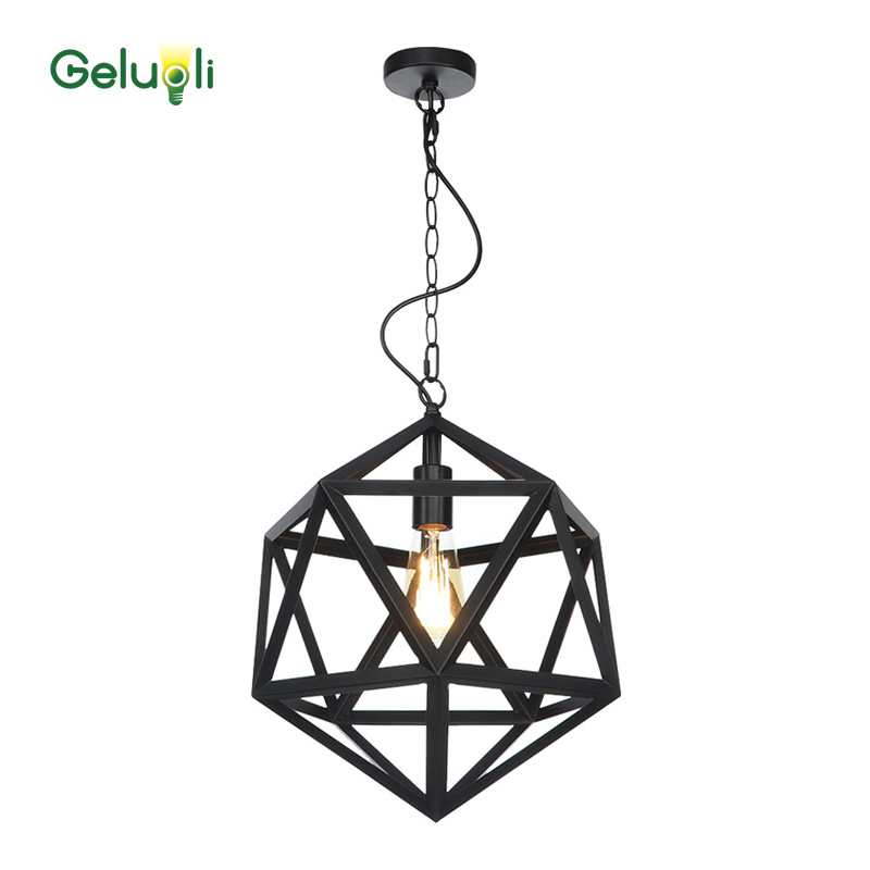 Mate negro hierro minimalismo cadena moderna colgar línea de luz colgante luz E27 Blub - 3