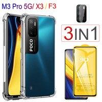 Funda Poco X3Pro M3, poco m3 pro 5g cristal templado + airbag carcasa para Xiaomi poco m 3 pro Poco-F3 silicona transparente funda Pocophone F3/M3/X3 Pro Case & Screen Protector, Poco X3 Pro