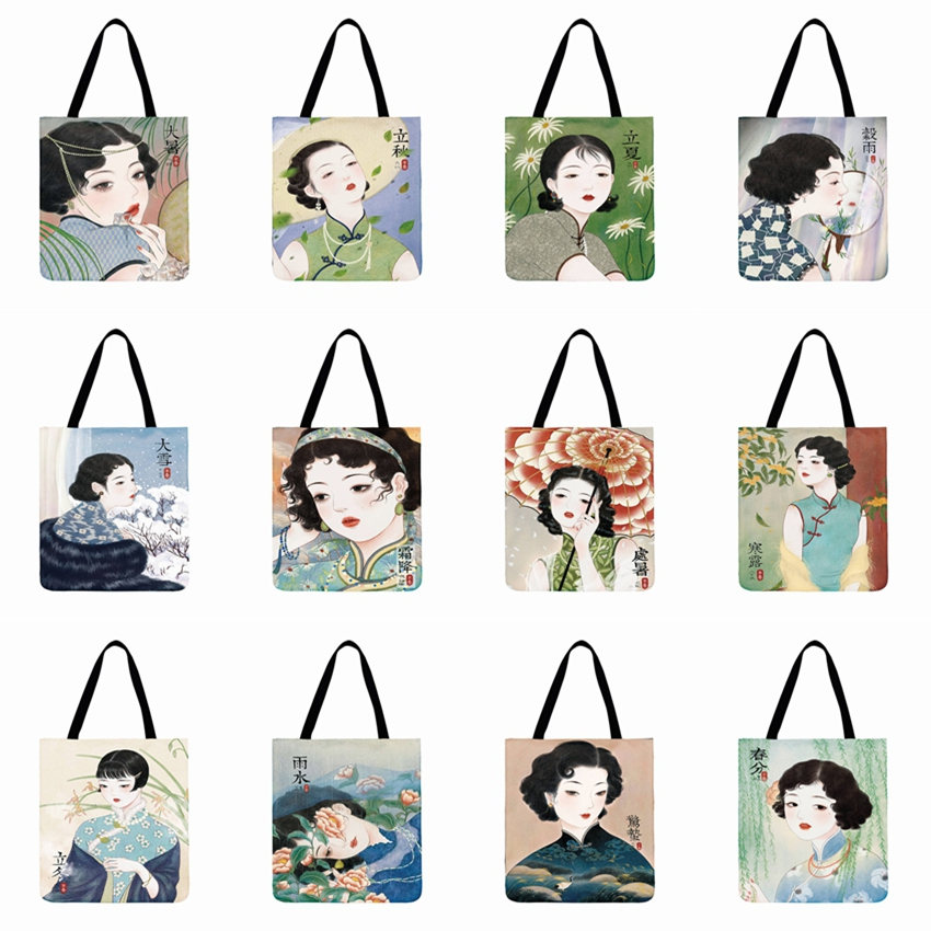 Ladies Shoulder Bag Old Shanghai Poster Printed Tote Bag Outdoor Beach Bag Foldable Shopping Bag Casual Totes Linen Fabric Bag