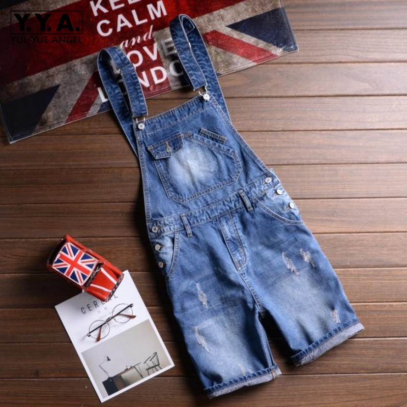 Summer Fashion Men Short Denim Overalls Straps Bib Shorts Casual Jeans Streetwear Unisex Hip Hop Male Jeans Plus Size 5XL