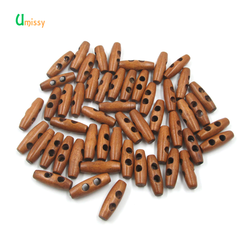 50pcs Scrapbooking Wooden <font><b>Buttons</b></font> 2 Holes Sewing Horn Toggle <font><b>Buttons</b></font> For Clothing Accessories Craft DIY <font><b>30mm</b></font> image