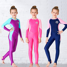 1 8 years old kids swimsuit for girls lovely yellow duck bathing suit children swimsuit princess one piece swimwear swimming cap Fullbody One Piece Swimming Suit For Kids Girls Swimwear Children's Swimsuit Long Sleeves Diving Bathing Suit Wetsuit Jump Suit