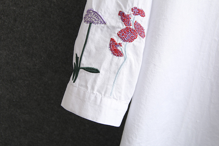 Chinese Style Floral Embroidery Shirts for Women Spring Summer Blouse Casual White Long Blouse Shirt Plus Size KKFY4751 Women Women's Blouses Women's Clothings cb5feb1b7314637725a2e7: White