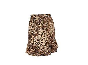 New style high waist leopard print around hips sexy a-line mini skirt irregular skirt tail woolen fabric women skirts