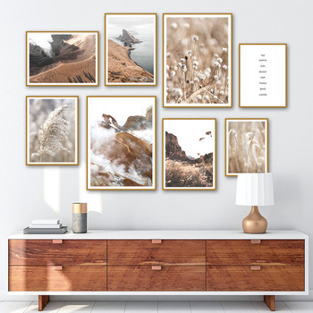 Archipelago Mountains Reeds Zion National Park Wall Art Canvas Painting Nordic Posters and Prints Living Room Home Decoration image