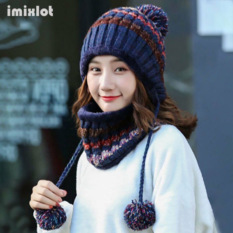 Winter Knitted Beanie Hat With Earflap Pompom Cap Women Thick Warm Beanies Striped Cotton Wool Hat Scarf Set Outdoor Riding Sets