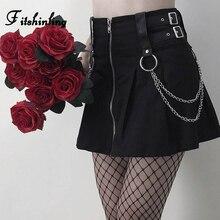 Fitshinling Goth Dark Chain Autumn Skirt Zipper Up Slim High Waist Short Skirts Womens Clothing Gothic Black Bottom Faldas Mujer