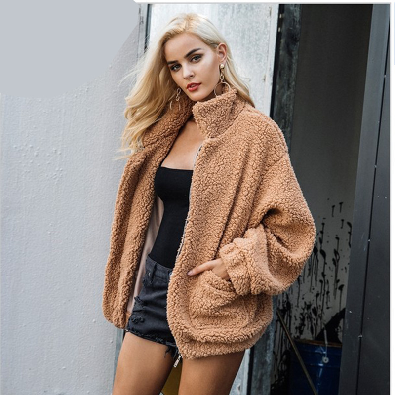 Autumn winter women   basic     jackets   solid fleece fur bomber women   jacket   coat warm spring casual female coats outerwear new DR1007