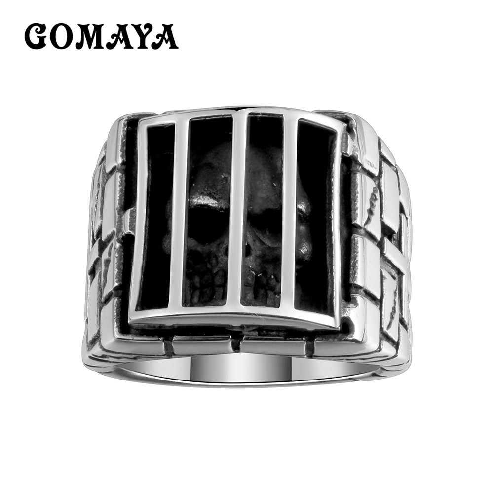 GOMAYA 925 Sterling Silver Ring Men Cage Skull Cross Rings Personality Antique Black Cool Punk Hip for Men and Women in Rings from Jewelry Accessories