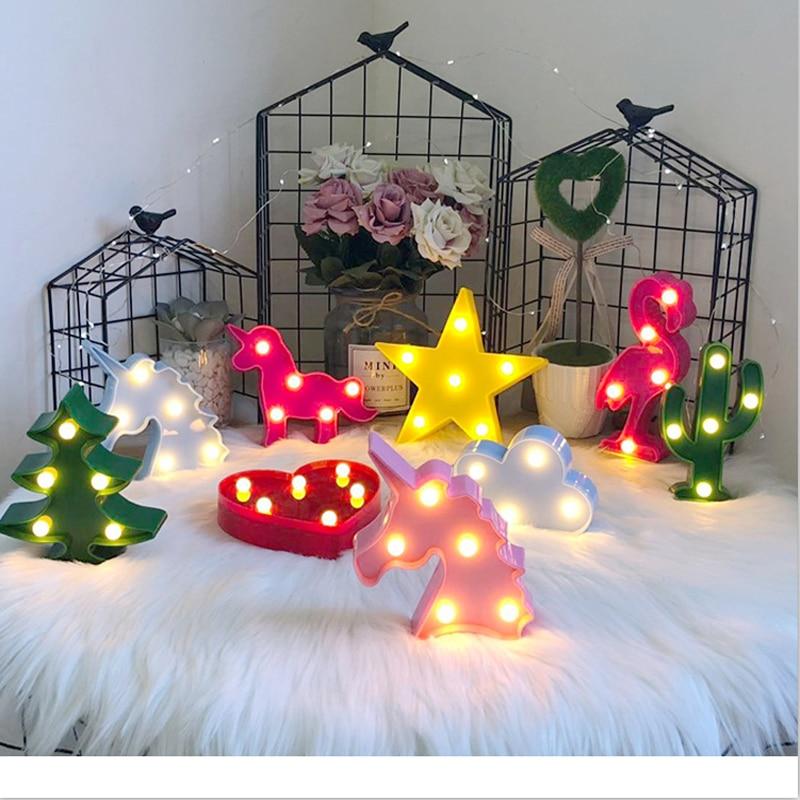Cartoon Night Lights Flamingo Unicorn Cactus Pineapple Cloud Star Shell Heart LED Table Lamp For Children