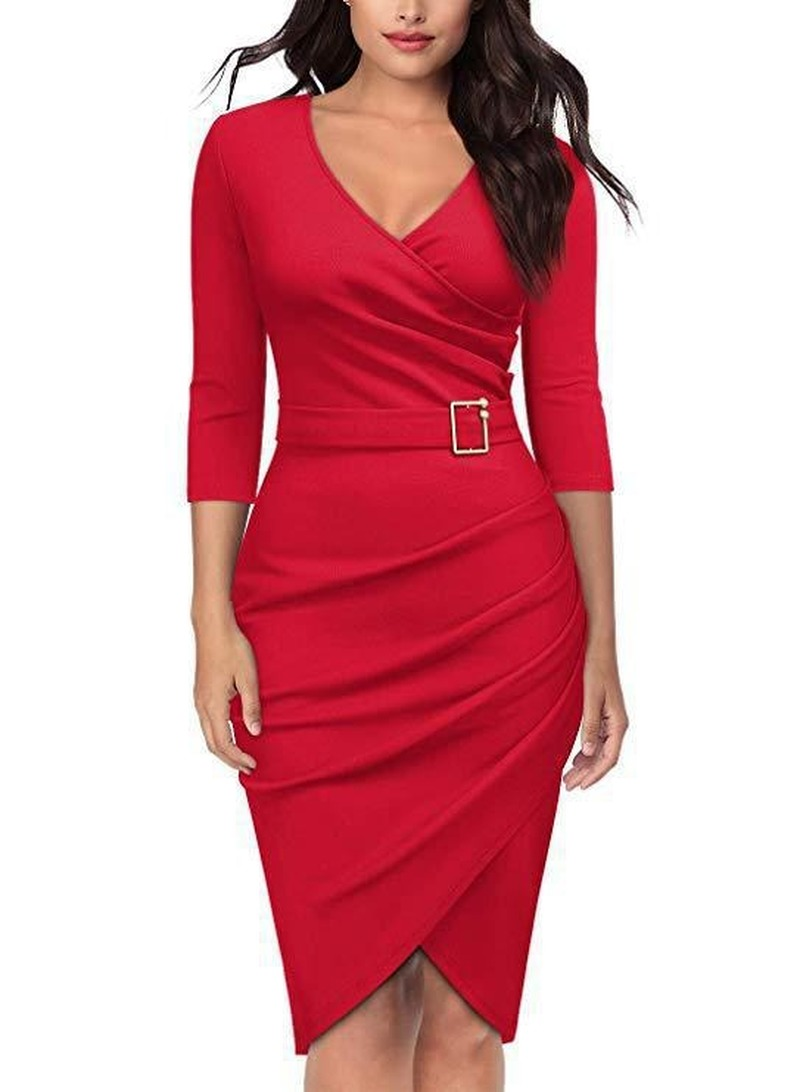 Sexy Women's Party Dress Solid Color Knee Length Half Sleeve V Neck...