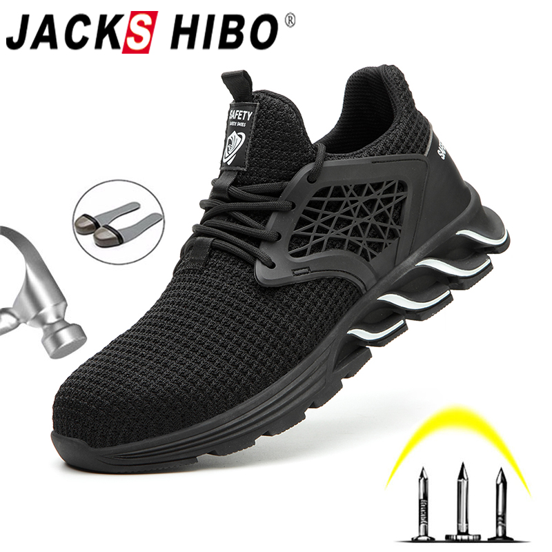 JACKSHIBO New Design Safety Work Shoes Boots For Men Anti-Smashing Steel Toe Boots Construction Shoes Safety Boots Work Sneakers