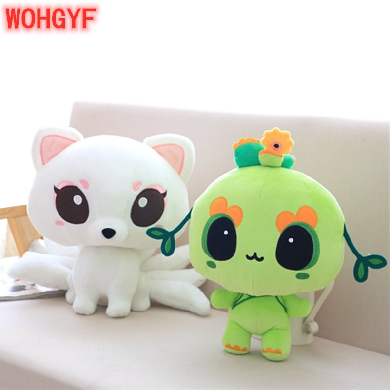 1pc Kawaii 23-25cm Nine-tailed Fox Toys Soft Plush Fox Tree Demon Toy TV Character Plush Animal Toy Kids Gifts image