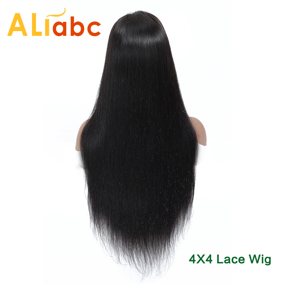 Aliabc Brazilian 4*4 Lace Closure Wigs 100% Human Hair Wigs For Black Women Remy Hair Straight Lace  Wigs 150 Density