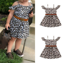 Toddler Baby Girls Kids Party Princess Leopard Dress Casual Tutu Dresses Clothes 1-6Y white baby girls dress frills flare sleeve top t shirt party ruffles hem dresses 1 6y